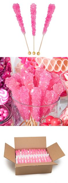 What can you do with 120 shimmering pink rock candy swizzle sticks? Anything you want! Arrange them in a jar for your pink candy buffet, pass them out at your next princess party, or drop them in your French martini. See more rock candy at http://www.candywarehouse.com/candy-type/rock-candy-and-sugar-swizzle-sticks/?DepartmentId=85&F_All=Y