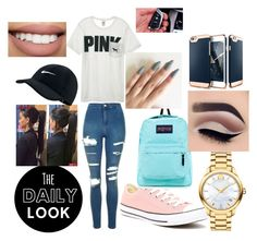 """""""Daily look"""" by cu30rry ❤ liked on Polyvore featuring Topshop, Victoria's Secret, Converse, Movado, JanSport, NIKE and BMW"""