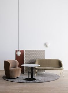 GUBI // Stay Lounge Chair, Satellite Pendant, TS Column Table, Beetle Sofa, Cobra Wall Lamp