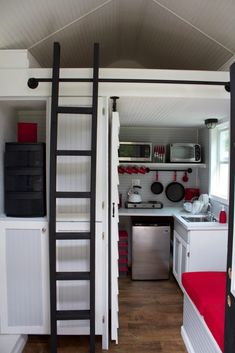 """Tennessee Tiny Homes. This tiny home on a trailer has a living room, kitchen, bathroom and sleep loft. Great idea for a """"guest"""" area! Building A Tiny House, Tiny House On Wheels, Small House Plans, Small Room Design, Tiny House Design, Tiny House Swoon, Küchen Design, Studio Design, Clever Design"""