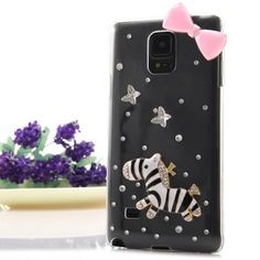 $4.04 (Buy here: http://appdeal.ru/an87 ) Transparent PC Material Bowknot and Horse Pattern Diamante Back Cover Case for Samsung Galaxy Note 4 N9100 for just $4.04