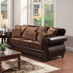Furniture of America Franchesca Traditional Style Fabric and Leatherette Sofa - Overstock™ Shopping - Great Deals on Furniture of America Sofas & Loveseats