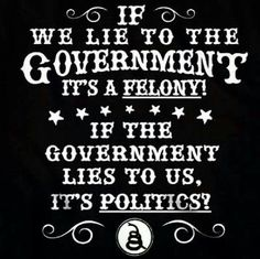If we lie to the Government it's a felony. If the Government lies to us, it's politics? T-Shirt.It's an amazing double standard.