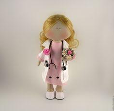 Купить Интерьерная кукла доктор невролог - комбинированный, кукла доктор, кукла врач