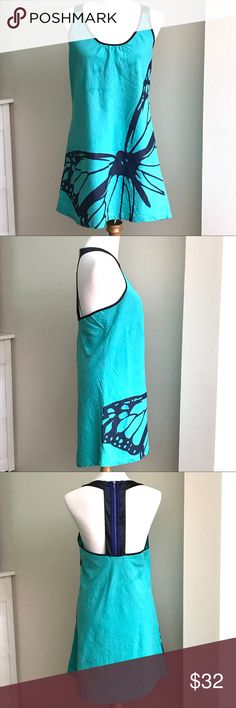 Hype Teal butterfly racerback Linen blend dress His gorgeous bright dress is in excellent condition throughout. Made of Linen/Viscose/Cotton, it has a bright blue monarch butterfly abstract on a vibrant teal dress. this has a pretty back zip closure. Hype Dresses