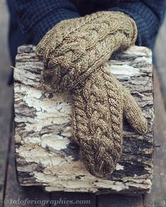 Tamara Paetkau ~ Taloferia: lofty mitts Cabled mittens: central plait cable, two simple cables at edges. Knitted Mittens Pattern, Knit Mittens, Knitted Gloves, Knitting Socks, Hand Knitting, Knitting Patterns, Fingerless Mitts, Quick Knits, How To Purl Knit