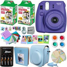 FujiFilm Instax Mini 8 Camera PURPLE   Accessories KIT for Fujifilm Instax Mini 8 Camera includes: 40 Instax Film   Custom Case   4 AA Rechargeable Batteries   Assorted Frames   Photo Album   MORE -- Read more  at the image link.