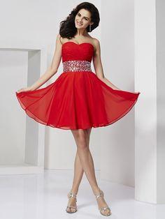 A-Line/Princess Sweetheart Sleeveless Rhinestone Short/Mini Chiffon Cocktail Dresses