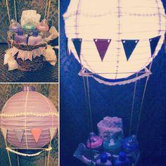 Custom made hot air balloon gift basket by Loud Byrd Craftworks https://www.instagram.com/p/BOvy_V8BawX/