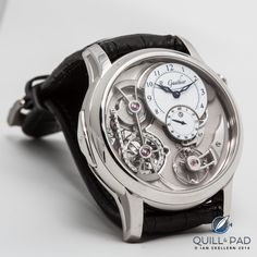 """Romain Gauthier Logical one in platinum. Baselworld Was so impressed: later that same year Logical One was awarded the prestigious prize for best """"Men's Complication"""" at the Grand Prix d'Horlogerie de Genève. Cool Watches, Watches For Men, But Is It Art, Expensive Watches, Creative Skills, Baguette Diamond, Mechanical Watch, In A Heartbeat, Dress Watches"""