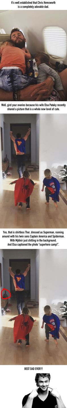 Chris Hemsworth Playing Superheroes With His Kids