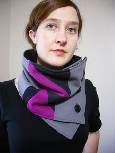 New geometric neck warmer design!!    Unique design created from new and upcycled fabrics. Fuchsia pink and shades of gray soft wools.  Lined with black fleece for added warmth.  Secures around neck with buttons.  Can be worn a variety of ways!    This neck warmer is a Christina Robinson original design.
