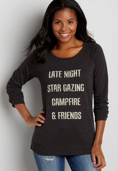 pullover sweatshirt with campfire and friends graphic (original price, $32.00) available at #Maurices