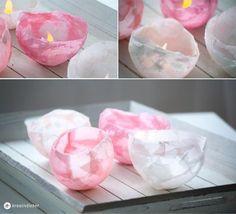 rosa Windlicht aus Tempo Taschentüchern Kopie