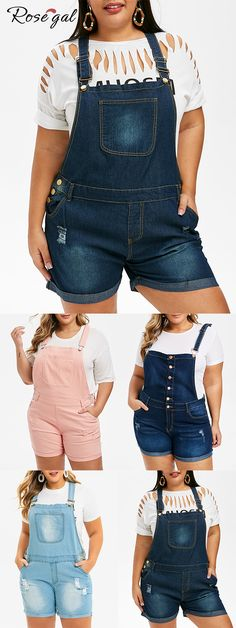Free shipping over $45, up to 75% off, Rosegal plus size Ripped Cuffed Plus Size Denim Overalls #Rosegal #womenfashion Curvy Women Fashion, Plus Size Fashion, Women's Fashion, Plus Size Blouses, Plus Size Tops, Overall Shorts Outfit, Scarf Shirt, Crop Top Shirts, Denim Overalls