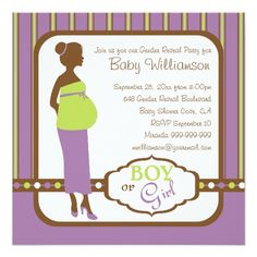 Retro Purple and Green Baby Gender Reveal Party Invitations