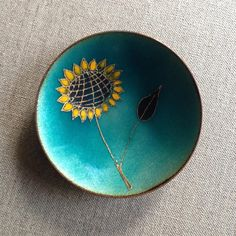 De Passille Sylvestre Enamel on Copper Mid Century Mod Sunflower Dish -onlygoodvintage Brutalist Design, Gold Hands, Enamel Jewelry, Color Stories, Vintage Pottery, Contemporary Jewellery, Vintage Buttons, Fused Glass, Metal Working