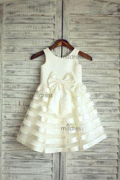 Satin Tulle Stripe Flower Girl Dress Wedding Easter di misdress, $48.99