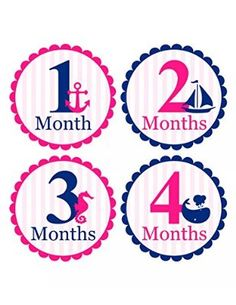 Set of 12 Month 2 Month Baby Nautical Girl Collection Monthly Stickers
