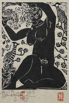 "By Munakata Shiko (1903-1975), 1957, ""Goddess,"" woodblock print. (J)"