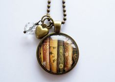 Book Necklace - Book Jewelry - Librarian Pendant - Teacher Gift - Bibliophile - Book Lover Necklace - Literary Jewelry - Library Book (1)