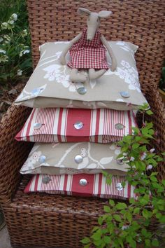 Flora and Fauna with French Ticking with Mouse. V.H.DESIGNS