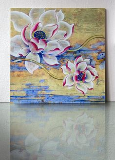 stream consciousness white pink lotus flowers vintage timeless nature blue water…