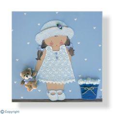Cuadro infantil personalizado: Niña con sombrero vestidito y osito (ref. 12009-01)