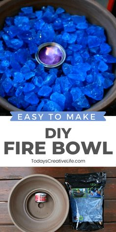 Easy to make DIY Tabletop Fire Bowl with rock, flammable gel and a fireproof container. DIY Patio Decor ideas. See TodaysCreativeLife.com for a full tutorial. Diy Home Decor Projects, Outdoor Projects, Garden Projects, Projects To Try, Outdoor Crafts, Decor Ideas, Garden Ideas, Tabletop Fire Bowl, Fire Bowls
