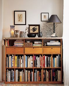 "See the ""The Office Inspiration"" in our Home Tour: Brooklyn Apartment gallery Small Bookshelf, Bookshelves, Bookcase, Interior Decorating Tips, Interior Design, Interior Architecture, Bookshelf Organization, Organizing Books, Organizing Ideas"