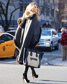 Fur Trimmed Cape, Fur Cape, Wool Cape, High Heel Boots, Heeled Boots, High Heels, Celine Tote Bag, Swag, Blue Coats