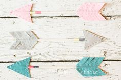 Choose Your Own Colors - Decorative Arrows - Wool Felt, Wood, Twine and Embroidery Thread - Pink, Soft Teal, Silver
