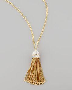 Tassel Pendant Necklace, White by Rachel Zoe at Neiman Marcus.