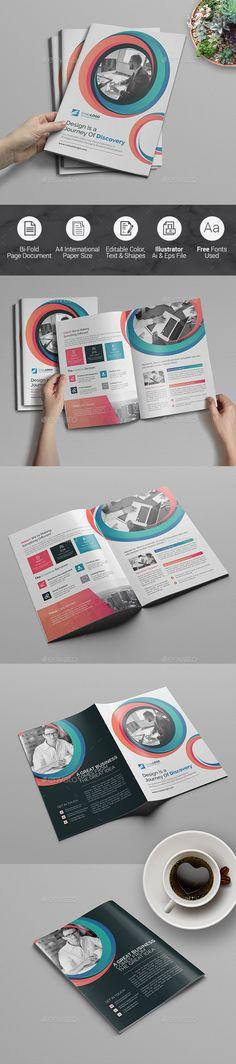 #Bi-Fold #Brochure Template - Corporate #Brochures Download here: https://graphicriver.net/item/bifold-brochure-template/20365280?ref=alena994