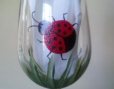 Lady Bug hand painted wine glasses by GlassesbyJoAnne on Etsy