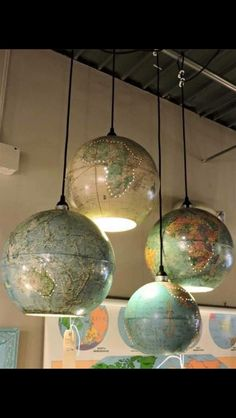 Globes as swag lights More