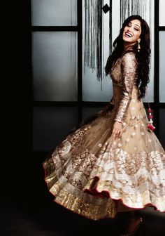 Oh the glitz and glamour light brown and gold anarkali..OMG THIS IS GORGEOUS!