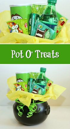 Collect up all of the green treats you can and make this cute St. This is a guide about making a pot o'treats. patricks day diy gifts Making a Pot O' Treats St Patrick Day Treats, St Patrick Day Activities, Holiday Crafts, Holiday Fun, Easter Crafts, Easter Food, Easter Dinner, Holiday Ideas, Fun Crafts