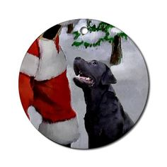 Labrador Retriever Christmas Ornament Round Pets Round Ornament by CafePress. Stunning christmas art with a black lab looking adoringly at santa. Wonderful holiday gifts for labrador retriever lovers on a variety of xmas merchandise. Pets Round Ornament Instantly accessorize bare wall-space with our Round Ornament. Makes great room or office accessories, fun favors for birthday parties, wedding or baby shower Ornaments, or adding a unique, special touch to gift-wrapped packages. Comes with…