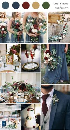 dusty blue burugndy and gold fall wedding color inspiration wedding colors 50 Best Burgundy Wedding Color Ideas for 2020 Burgundy Wedding Colors, Winter Wedding Colors, Winter Weddings, Burgundy Color, Popular Wedding Colors, December Wedding Colors, Country Wedding Colors, Vintage Wedding Colors, Wedding Colours