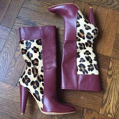 """Final week - leaving closet 4-24 - Topshop boots Come heel. Calf hair. Real leather and made in Spain. See and be seen in these babies! 4.5"""" heel and pointy toe! Topshop Shoes Heeled Boots"""