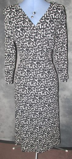 Marks&Spencers,ladies,size14,black,white,calf length,viscose,v neck,formal,Dress