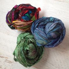 "Silk ribbon yarn! Yarn Baby, LLC. #yarn  These are great for loosely stitched items like a cowl, headband, infinity scarf, etc. They are also often used with beads to make bracelets and necklaces. (I've seen 7"" strands sell for $20 on Etsy). If you weave - this would be super fun! I fingered-knitted a skein and had enough to make two pretty colorful infinity scarfs. These do not stretch the way wool yarn does so loose stitches are best."
