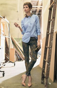 Maison Scotch Sequined Shirt & 7 for All Mankind Skinny Print Jeans #Nordstrom #AugustCatalog