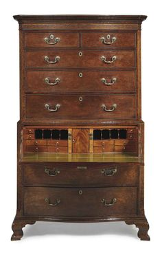 A GEORGE II FIGURED MAHOGANY SECRETAIRE CHEST-ON-CHEST -  CIRCA 1760