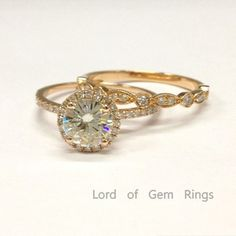 Round Moissanite Engagement Ring Sets Pave Diamond Wedding 18K Rose Gold 6.5mm  Art Deco - Lord of Gem Rings - 1
