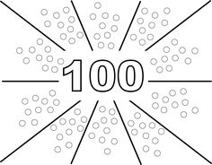 """Saw this idea here on Pinterest but I made up a template that is easy for the kiddos to paint on using a q-tip. I plan on using this as a center. Feel free to use. Saved as a jpeg, just print and """"fit to page"""" :) HAPPY 100's day! - M. Lopez"""
