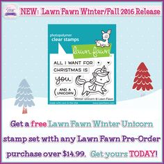 Get a FREE Lawn Fawn Winter Unicorn stamp set while supplies last! Hurry! Offer expires 08/20/2016 at 11:59pm. #oandhdesigns #lawnfawn #planner #planneraddict #plannercommunity #plannergoodies #plannerlove #scrapbooking #stamp #clearstamps #rubberstamps #stationery #stationeryaddict #stationerylove
