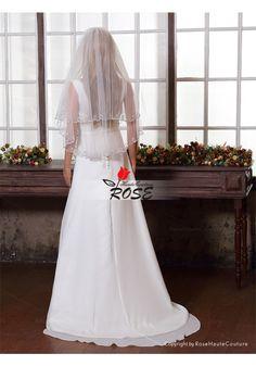 Wedding Veil Bridal Veil Beads Edge 2 Tiers with Comb Style BV002 - Wedding Veil