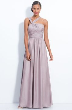 Ml Monique Lhuillier Bridesmaids Twist Shoulder Chiffon Gown in Purple (sand) - Lyst